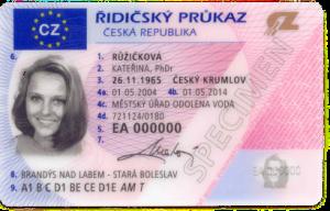 řidičský průkaz zepředu